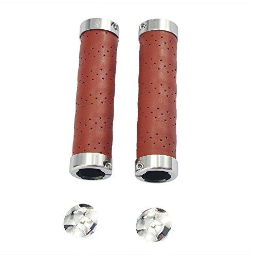 Upanbike Impugnature per manubrio, in pelle, con doppia serratura, da 22,2 mm, per mountain bike e bici da strada (una coppia), Colore: marrone miele.