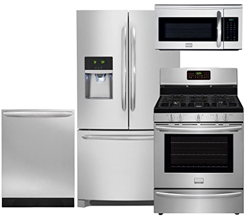 "Frigidaire 4-Piece Smudge Proof Stainless Steel Set, FGHF2366PF 36"" French Door Refrigerator, FGGF3058RF 30"" Gas Range, FGID2466QF 24"" Dishwasher and FGMV175QF 30"" Over-the-Range Microwave"