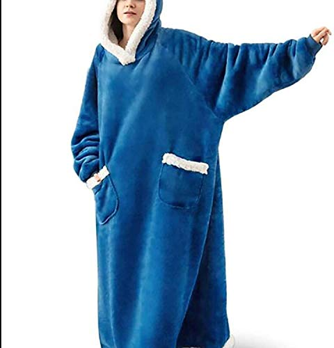 LQH -Manta con Capucha, Sudadera con Capucha Extragrande, Manta para Mujer, Bata De Felpa Súper Suave, Bata con Capucha Cómoda Y Cálida,5 Blue