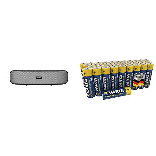 Goobay SoundBar 6W Stereo Lautsprecher für PC, TV und Notebook, schwarz & VARTA Industrial Batterie AA Mignon Alkaline Batterien LR6, umweltschonende Verpackung (40er Pack)