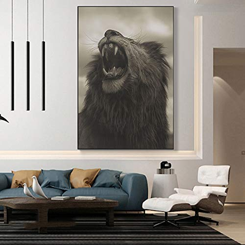 wZUN Pintura de Lienzo de león rugiente Africano en los Carteles de Arte de la Pared e Impresiones Animales Salvajes imágenes de Lienzo de Arte de león en la Sala de Estar 50x70cm