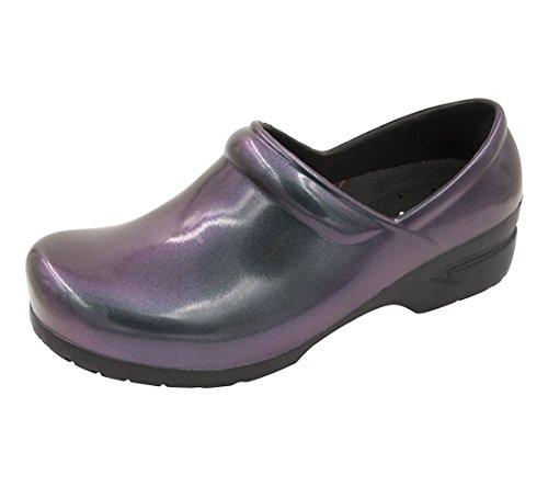 Anywear SRANGEL Closed Back Plastic Clog, 10, Iridescent Purple, Black