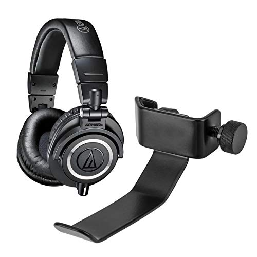 Audio-Technica ATH-M50x Professional Monitor Headphones, Black - with H&A Clamp On Headphone Holder for Mic Stand