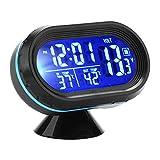 IWILCS Orologio da auto Termometro Allarme 3 in1 Orologio digitale multifunzione Voltmetro Display LCD Colori Accendisigari Tester batteria Retroilluminazione 12V