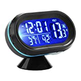 IWILCS 12V Reloj de Coche Termómetro Alarma, 3 en 1 Alarma Termómetro Reloj para Coche, Termómetro Digital del Voltímetro del Reloj 2 LCD Colores Azul + Naranja