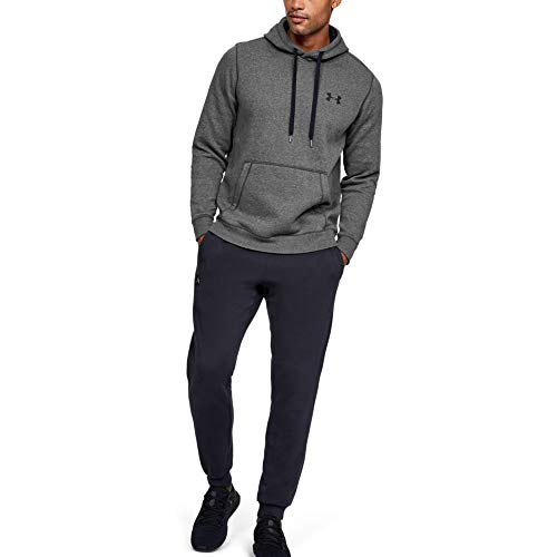 Under Armour Rival Fitted Pull Over, sudadera con capucha Hombre, gris (Carbon Heather/Black (090)), L