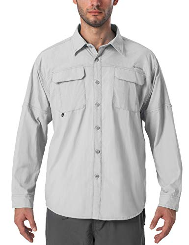 Naviskin Men's UPF 50+ Sun Protection Outdoor Long Sleeve Shirt Lightweight Quick-Dry Cooling Fishing Shirts Grey Size S