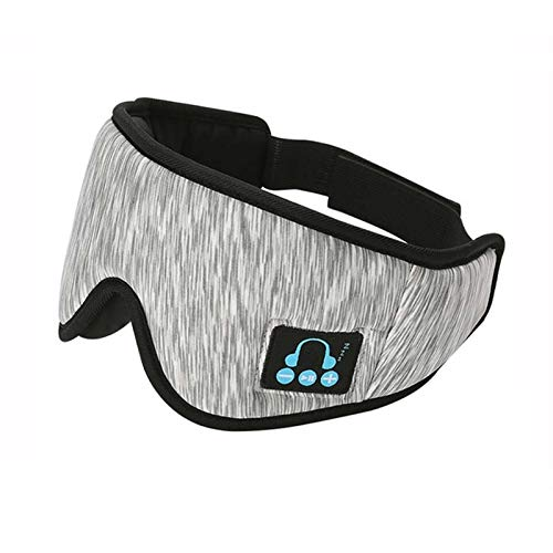 XCAYBH 5.0 3D estéreo del Auricular de Bluetooth inalámbrico Diadema Suave Dormir máscara de Ojo de Música Receptor de Cabeza por Manos Libres Auriculares (Color : Grey White)