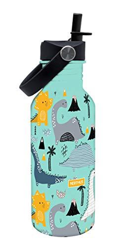 NERTHUS FIH 805-Botellín Infantil a Prueba de Fugas, Botella de Agua para niños con Dibujos de Dinosaurios Color Azul, 500 ml
