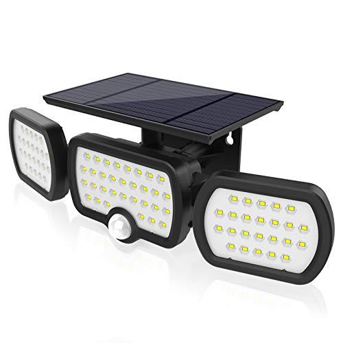 Luz Solar Exterior 3 Cabezas, Romwish 80 LED 3 Modos Luz con...