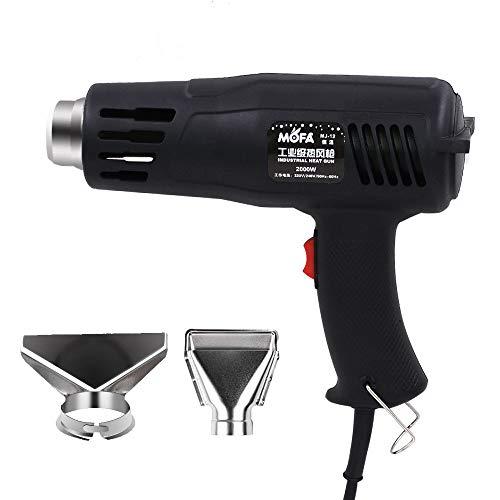 Pistola de aire caliente Mofa de 2000 W con 2 ajustes de temperatura de 150 °C a 550 °C (302 ° F a 1022 ° F), cable de 4,6 m con 2 boquillas como protección contra sobrecarga para el proceso.