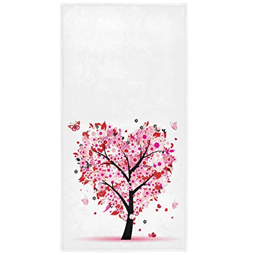 Pink Flowers Heart Tree Hand Towels 16x30 in Romantic Love Spring Trees Butterfly Bathroom Towel Ultra Soft Absorbent Small Bath Towel Kitchen Dish Guest Towel Mother's Valentine's Day Decorations