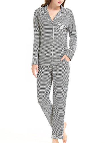 NORA TWIPS Schlafanzug für Damen, Pyjama für Damen, Damen Schlafanzug Pyjama, Gestreifter Zweiteiliger Schlafanzug für Damen Langarm Pyjama mit Knopfleiste(MEHRWEG)