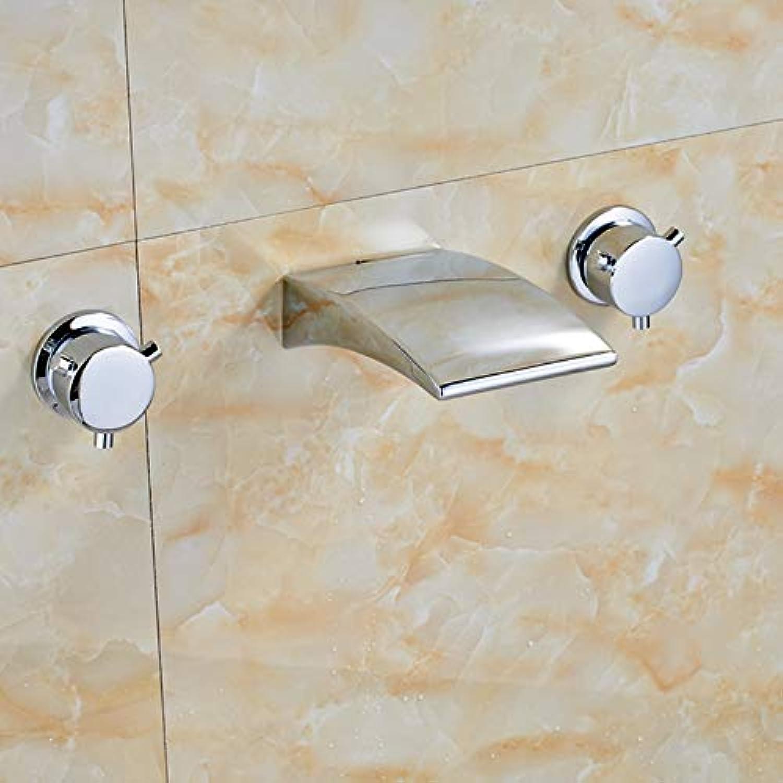 Floungey BadinsGrößetionen Waschtischarmaturen Küchenarmaturen Chrom-Modernes Design-Badezimmer-Hahn-Wand-Berg-Doppelgriffe 3-Loch-Mischbatterie