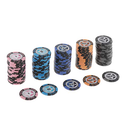sharprepublic 100 Pcs Clay Poker Chips Set for Texas Holdem Blackjack...
