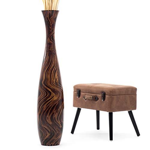 Leewadee Grand Vase à Poser au Sol - Vase à Poser au Sol pour Branches décoratives, Vase Haut Design en Bois de manguier, 112 cm, Marron Brun Clair