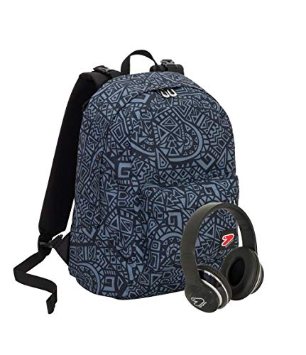 Zaino SEVEN THE DOUBLE - MAZE BOY - Grigio Fantasia - Cuffie wireless - 2 zaini in 1 REVERSIBILE