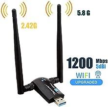 Techkey Wireless USB WiFi Adapter, 1200Mbps Dual Band 2.42GHz/300Mbps 5.8GHz/867Mbps High Gain Dual 5dBi Antennas Network WiFi USB 3.0 for Desktop Laptop with Windows 10/8/7/XP, Mac OS X