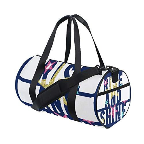 ZOMOY Sac de Sport,Rise Shine Slogan Star Paillettes Colorées,Nouveau Cylindre d'impression Sac de Gym Voyage Duffel Bagages Toile Sac à Main