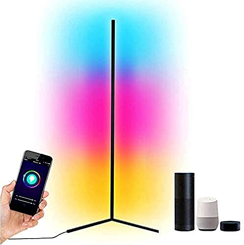 Luces de Piso Lámpara de Piso Led Smart RGB Luz de Piso de Esquina Decoración nórdica Lámpara de pie Que Cambia de Color para el hogar Sala de Estar Dormitorio y Sala de Juegos