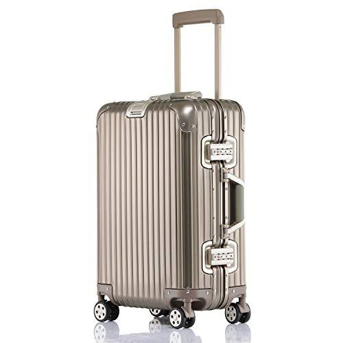 ビルガセ(Vilgazz) キャリーケース アルミ・マグネシウム合金ボディ スーツケース キャリーバッグ 機内持込 静音 360度自由回転 旅行出張 1年保証 ゴールド gold 2XLサイズ 約87L