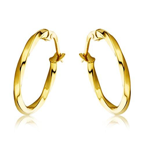 Miore Schmuck Damen Creolen Ohrringe aus Gelbgold 18 Karat / 750 Gold