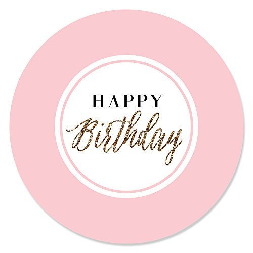 Big Dot of Happiness Chic Happy Birthday - Pink and Gold - Birthday Party Circle Sticker Labels - 24 Count