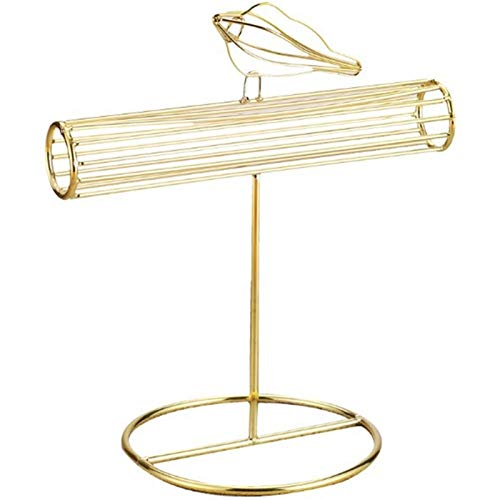 Caja de joyería Gilded Metal Bird Jewelry Tower Pulsera Pulsera Soporte de exhibición Soporte de escritorio Joyería Organizador T-Bar Pulsera Collar Joyería Soporte de exhibición for la organización d
