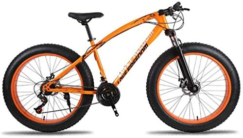 Wyyggnb Mountain Bike, Mountain Bike, Mountain Trail Bike High Carbon Steel Outroad Bicycles 7/21/24/27 Speeds 26 Inch Fat Tire Road Bicycle Snow Bike/Beach Bike with Disc Brakes and Suspension Fork