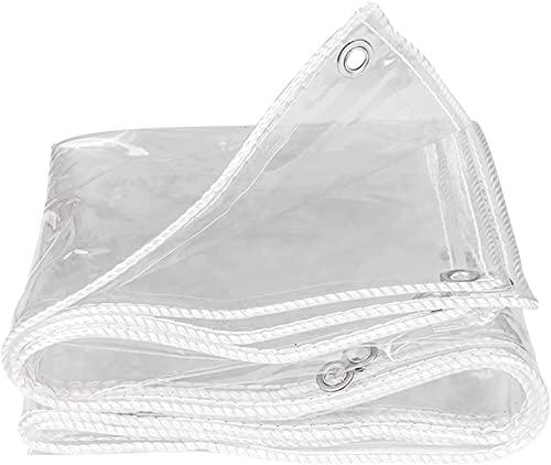 Lona transparente con ojales y cuerda, PVC resistente a desgarros, antienvejecimiento, plegable, multiusos, para terraza, pabellón, terraza, cortavientos, exterior (2 x 2 m)