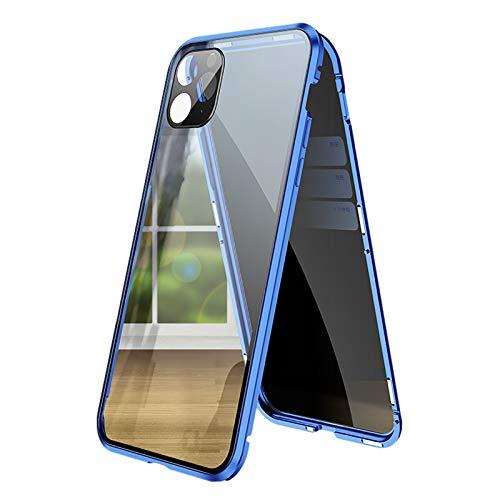WYZDQ Anti Espía Funda para 12/12 Mini/12 Pro/12 Pro MAX, Ambos Lados Vidrio Templado de Privacidad Cubierta, 360 Grados Adsorción Magnética de Metal Protección Carcasa,Azul,for iPhone12