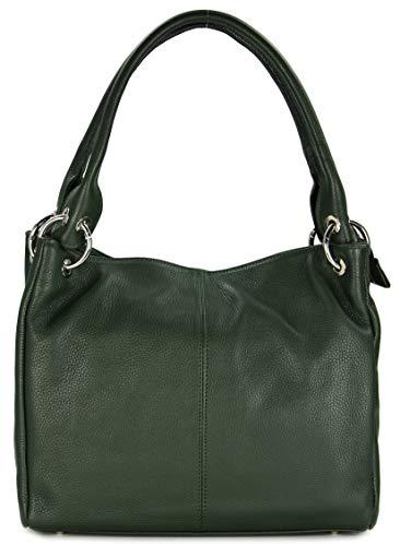 Belli italienische Leder Schultertasche Damentasche Handtasche Shopper Lilly in grün - 33x28x14 cm (B x H x T)