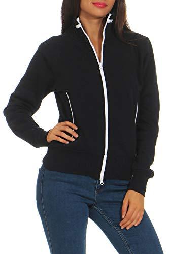 Happy Clothing Damen Sweatjacke mit Reißverschluss und Kragen ohne Kapuze im sportlichen Design, Elegante Jacke aus Baumwolle für Sport und Freizeit, Größe:M, Farbe:Dunkelblau