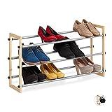 Relaxdays Zapatero Extensible, Estantería Zapatos, Organizador de 3 Estantes, Madera-Hierro, 1 Ud, hasta 118 cm, Marrón