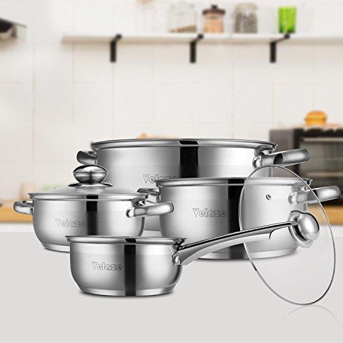 Velaze Juego de Ollas, Batería de Utensilios de Cocina de Cocina de Acero Inoxidable para Todas las Cocinas( 7 Piezas)