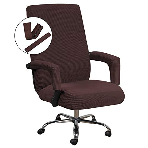 H.VERSAILTEX Office Chair Cover Stretch Chair Cover for Office Chair with Arms Computer Chair Cover Jacquard Boss Chair Cover Rotating Chair Slipcover Machine Washable Large Size Chocolate