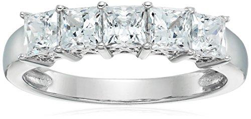 Anello in argento Sterling placcato platino o oro con 5 pietre taglio princess realizzato con zirconi Swarovski,Argento placcato platino,Size 7