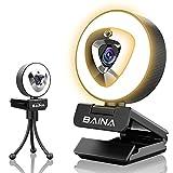 1080P Webcam mit Mikrofon, BAINA Full HD Facecam Live-Streaming Webcams mit Abdeckung, Ringlicht, Stativ, USB Kamera für PC, Videochat-Aufnahme, Mac, Laptop, Zoom, Skype (Weiß/Tageslicht/Warmes Licht)