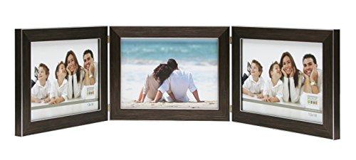 Deknudt Frames S41VK3-H3H-10.0X15.0 Bilderrahmen, aufklappbar, für 3 Fotos, Querformat, Braun 18,2 x 13,9 x 1,7 cm