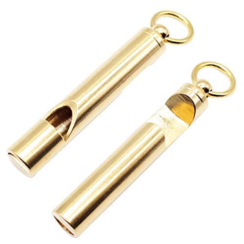 GOODOOR 2PCS Portable Brass Loud Version Whistle, Emergency EDC Tools, Survival Keychain Whistle with Bottle Opener