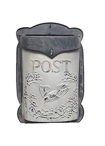 The Nifty Nook I Vintage Style Post Box I Nostalgic Charm Home Decor I Farmhouse Design I 15.9' Height x 11' Wide (white)