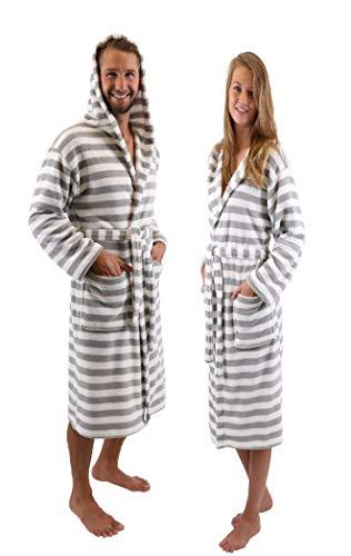 BETZ Albornoz Bata de baño Sauna con Capucha para Mujeres y Hombres ROM de Color Gris-Blanco Size L/XL