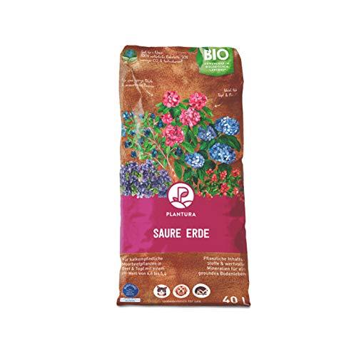 Plantura Bio Saure Erde, 40 L, torfreduziert & klimafreundlich, vorgedüngte Hortensien- & Rhododendronerde