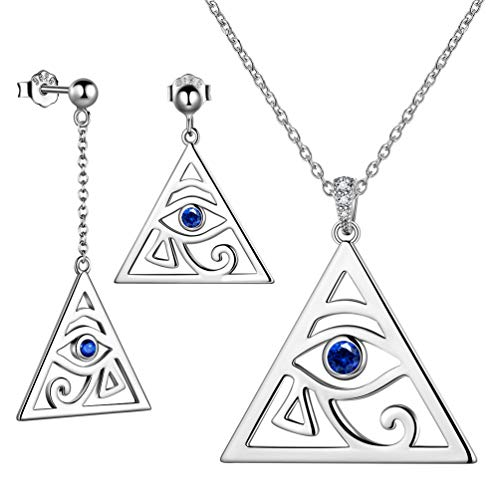 Besilver Ägypten Horus Augen Charme Anhänger Amulett Halskette Ohrring Schmuck Set 925 Sterling Silber Antike Ägyptische Amulett Damen Herren Geschenk