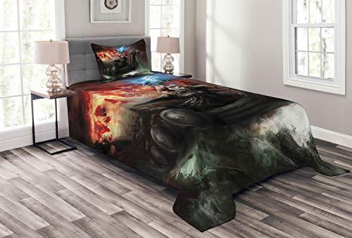 ABAKUHAUS Drachen Tagesdecke Set, Wikinger-Boot Stürmische See, Set mit Kissenbezug Moderne Designs, für Einselbetten 170 x 220 cm, Mehrfarbig