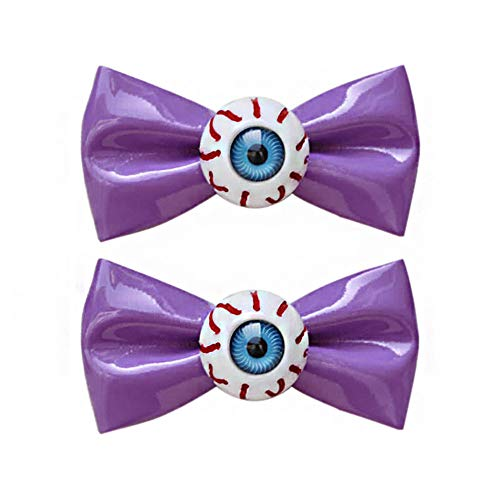 1 Pair Purple Bowknot Blood Eyeball Hair Clips for Harajuku Halloween Party Punk Rock