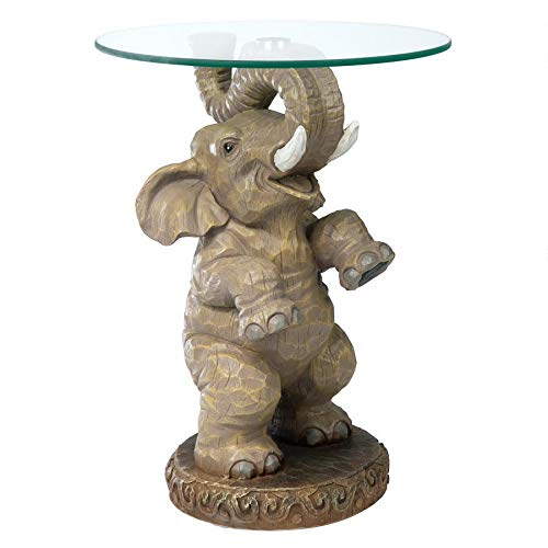 Design Toscano Good Fortune Elephant African Decor Glass Topped Side Table, 21 Inch, Polyresin, Full Color