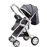 Yhz@ High Landscape Baby Stroller Handle Reversible Infants Buggy se Puede sentar y tumbarse DownUltralight Portable Foldable Child Cart Sillas de Paseo (Color : Gray)