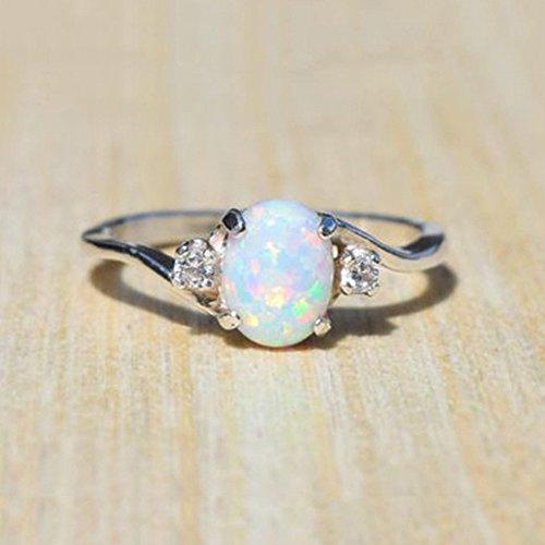 LUCOG Bague en Argent Sterling pour Femme exquise Bague en Diamant Opale de feu Coupe Ovale bagues Bijoux et Montres bagues
