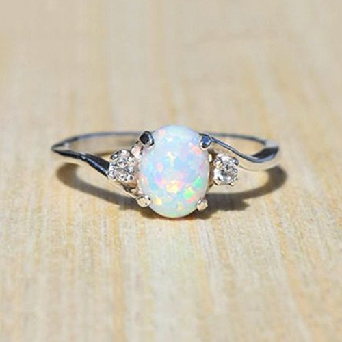 Exquisite Women's Sterling Silver Ring Oval Cut Fire Opal Diamond Band Rings Jewelry & Watches Rings